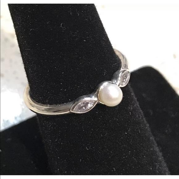 ae6622d8a Pandora Jewelry | Petite Luminous Leaves Pearl Ring 190964p | Poshmark